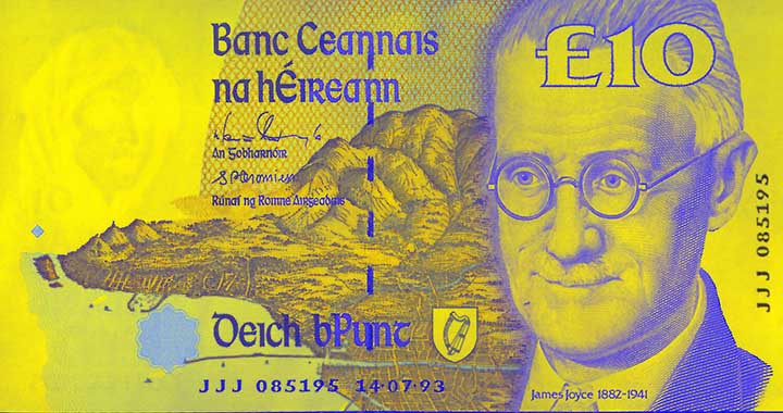 10 Irish pound banknote frontside
