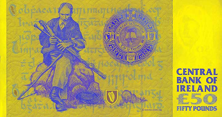 50 Irish pound banknote backside