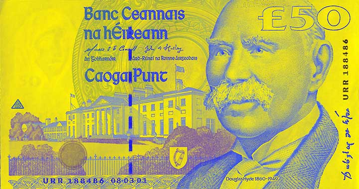 50 Irish pound banknote frontside